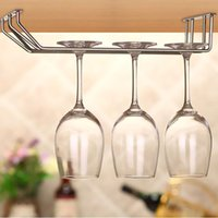 bar wine glass rack - Stainless Steel Champagne Stemware Rack Chrome Plated Wine Glass Cup Holder Kitchen Wall Mount Wine Rack Bar Hanger with Screws