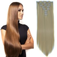 Wholesale 8pcs quot Straight Solf Natural Synthetic Hairpiece Clips in Pieces Individual Hair Extension For Elegant Ladies