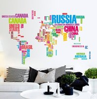 best bedroom decor - Colorful World Map Wall Stickers Large English Alphabet Removable Decal Perfect Decor Your Best Choice