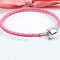 Wholesale New Silver Plated Bracelet Lobster Clasp Genuine Leather Snake Basic Bracelet Bangle Fit Women Pandora Bead Charm DIY Jewelry HK0002