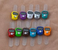 Wholesale DHL Mini Hand Hold Band Tally Counter LCD Digital Screen Finger Ring Electronic Head Count Tasbeeh Tasbih HDX36