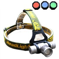 Wholesale Zoomable Headlamp Lumens CREE Q5 LED Headlight Head lamp Zoom LED Head Light Lamp with Red Green Blue Diffuser