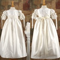 Wholesale New Arrival Lace Applique Long Christening Dresses Beaded Sash Baptism Gowns Puff Sleeve Empire Christening Dress For Baby Girl