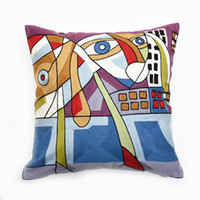 Wholesale FULL EMBROIDERY Chain Embroidered quot High End Picasso Abstract Paintings Cushion Cover Throw Embroidered Pillow Case ColorC
