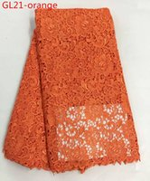 Wholesale 5 yard Orange lace fabric african guipure cord lace fabric lace fabric trim for dresses