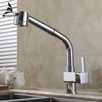 Wholesale Brass Sink Pull Out Kitchen Faucet Hot Cold Mixer Water Tap Deck Mounted Single Hole Single Handle Polished GYD L