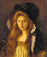 big canvas available - Albert Lynch Beautiful young Woman in a very big hat Hand painted portrait Art Oil Painting On Thick Canvas Multi sizes available P0018