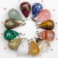 achat en gros de collier pendentif grande pour les hommes-Nouveaux hommes de mode / femmes mixtes couleur naturelle collier de pierre pendentif grande eau drop collier + Livraison gratuite + cadeau gratuit