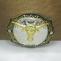 achat en gros de ceintures plaqué or-BuckleHome Boucle de ceinture de la tête de taureau de mode avec l'argent et le placage de finition d'or FP-03656 libèrent l'expédition