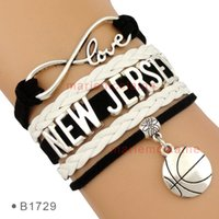 basketball jerseys lot - Pieces Infinity Love New Jersey Basketball Team Bracelet Sports Fans Jewelry Black White Customizable Drop Shipping