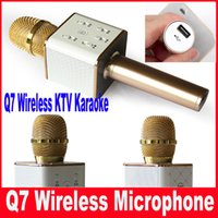 android recording microphone - Q7 Wireless mini Microphone Karaoke player Party home KTV Singing Record Bluetooth Speaker For IPhone Android Smartphone