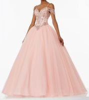 venda por atacado vestidos de debutantes-Cintas de espaguete lindo vestido de baile de cristal rosa Quinceanera vestidos de comprimento do assoalho beading vestido de dama 16 vestidos de decote Debutante 2017 Sexy