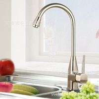 Wholesale Kitchen Faucets sink basin Tap Brushed Decorating supplies Mixer tap Cold hot water Single Hole faucet basin Waterfall Quality