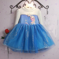 Cheap Christmas Perform Costume Frozen Princess Lovely Winter Add Soft Nap Children Dress Piece Long Sleeve zss49