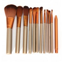 Wholesale 12pcs Professional new makeup brushes tools set Make up Brush tools kits eye shadow Brushes Golden brush set