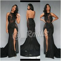 Wholesale Open Back Sexy Black Prom Dresses High Thing Split with Vintage Lace Halter Evening Dresses Formal Red Carpet Gowns Custom BA5106