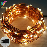 LED adapter copper wire - M Led EU Plug Vac Copper Wire String Fairy Lights Include EU Adapter For Holiday Christmas Wedding Party