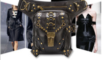 Wholesale New female PU Leather Steampunk Retro Shoulder Bag Crossbody Bags Cool Waist bag with metal for women