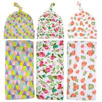 Wholesale Hot sale Newborn Swaddle Wrap Blanket Hat set Baby Floral plaid Pattern Swaddle Knot Caps Set Baby Cotton wrap cloth Grid robes BHB05