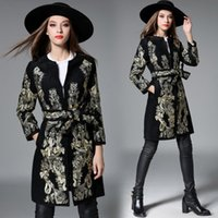 Wholesale Womens Winter cashmere coats Heavy embroidered gold thread embroidery coats Soft Comfortable Breathable sizes black
