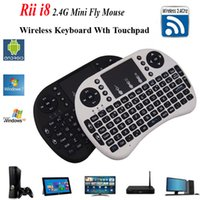 Wholesale Wireless Keyboard Rii Mini i8 Air Mouse Russian Media Player Remote Control Touchpad for Android Smart TV Box MXV MXR Mini PC