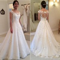 Wholesale 2017 A Line Wedding Dresses Elegant Garden Western Country Jewel Lace Vintage Bridal Gowns Appliques See Through Button Back Wedding Gowns