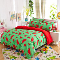Wholesale Summer Bedding Set Pieces Pastoral Fruit Style Watermelon Duvet Cover Pillowcase Bedsheet Home Decoration