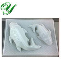 baked fish cakes - Chocolate mold Pudding mould Large Pair Koi Fish Jello Steam Rice cake Dessert Szies Plastic jelly mold stand Baking Fondant styling tools