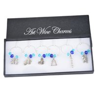 bamboo glass table - Box Christmas Wine Glass Charms Blue Crystal Collection Enamel Pendant Table Decoration Party Supplies For Home With Gift Box
