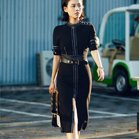 Wholesale 2017 spring women s ladies females top quality new self cultivation waist open bag pack hips long sleeved split long hit color black dress