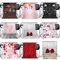 Wholesale Love Hearts Wedding vinyl Wood Floor Photography Backdrop Studio Photo Props Background for valentine day m
