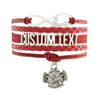 Wholesale Infinity Bracelet Custom Text Colorful Leather Cord Wrap Bangle Joy Baby For Christmas Gift