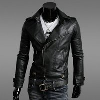 Wholesale Winter NEW HOT Fashion Men s Leather Motorcycle Coats Zipper Jackets Mens Leather Coat Outerwear Luxury Black Coat Warm Wool