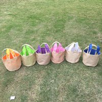 Wholesale Blanks DOMIL Bunny Ear Burlap Easter Tote Jute Easter Bunny Buckets With Bunny Ears Easter Baskets BagDOM103235