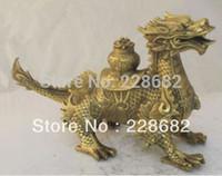 asian art sculptures - Metal Crafts Asian Antiques Chinese Folk Art Brass Sculpture Money Dragon Statue