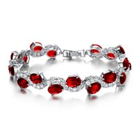 Wholesale Fashion Classical Red Crystal Stone Women Bracelet New Designer Charm Link Chain Bracelets Jewelry In Silver Color