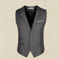 Wholesale Black Gray suit vest mens slim Men s gentleman Waistcoat blazer Tops Brand clothing Business Sleeveless Suit Dress Vest man