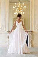Cheap Grecian Backless Beach Wedding Dresses V Neck Flowing Vintage Boho Bridal Dress A Line Vintage Greek Goddess Wedding Gown Summer Style 2016