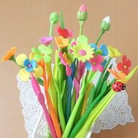 Wholesale New Pieces Flower Grass Gel Pens School Office Table Decorations Gel Pen Kid Children Prize Gifts Fashion Stationery Pen