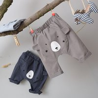 2017 Cute Baby Harem Pantalons Cartoon Bear Letter Pant Babies Enfants Vêtements 3/4 long Casual Lovely Harem Pantalons Pour Enfants A6922