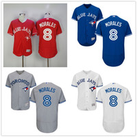 Baseball Men Short 2017 New Toronto Blue Jays 8 Kendrys Morales Jersey Red White Blue Grey Mens Stitched Kendrys Morales FlexBase Authentic CoolBase Jerseys