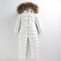 al por mayor calcetines blancos del bebé recién nacido-Winter White Duck abajo guantes de pantalones gruesos calcetines 24m-5t de invierno babero recién nacido bebé mameluco niño bebé snowsuit