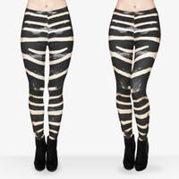 achat en gros de animaux pantalons impression de yoga-Leggings Femmes Zebra Fur Graphic Print Pantalons à crayons Skinny Stretchy Yoga Trousers (J29612)