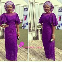 Wholesale Purple Lace Sheath Evening Wear Dresses Sheer Neck Ruffles Short Sleeves Plus Size African Nigerian Said Mhamad Prom Formal Gowns