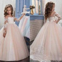 Wholesale 2017 New Flower Girls Dresses For Weddings Jewel Neck Long Sleeves Lace Appliques Sweep Train Ball Gown Birthday Children Girl Pageant Gowns