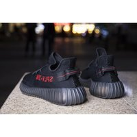 Wholesale FASTSHIPPING KANYE SHOES CP9652 BOOST V2 BLACK RED COLOR NEW SPLY MEN WOMEN SHOES TRUE BOOST WITH BOX KIDS V2 FOOTWEAR SIZE12