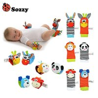 Wholesale Sozzy Soft Baby Toy Wrist Strap Socks Cute Cartoon Garden Bug Plush Rattle with Ring Bell M