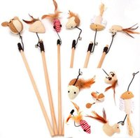 alloy rod products - Pet Products Supplies Wooden Cat Playing Toys Stuffed Ball Mouse Feather Dangle Rod Bell Funny Hot Sale
