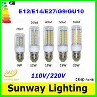 Wholesale SMD5730 E27 GU10 E12 E14 G9 LED corn bulbs light V V angle LED Corn bulb lights lamp