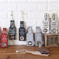 bar wall supply - Retro Wood Beer Opener Bar Restaurant Home Bottle Shape Wall Hanging Party Supplies Party Supplies Creative Gift S201792